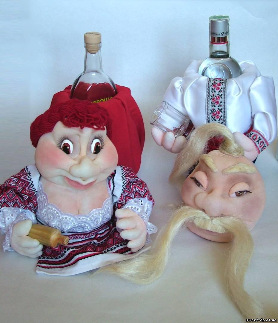 Кукла на бутылке своими руками